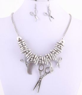 NEW HAIR STYLIST SALON CRYSTAL SCISSORS COMB MIRROR CHARM NECKLACE