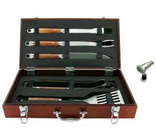 Mr. Bar B Q 5 Piece Tool Set w/Wood Case, Magnetic Grill Light