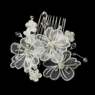 White or Ivory Silver Crystal Organza Flower Bridal Hair Comb