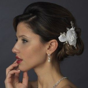 Ivory Rhinestone Crystal Bead Flower Bridal Hair Clip