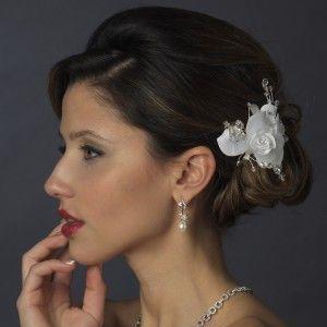 Ivory Rhinestone Crystal Bead Flower Bridal Hair Clip