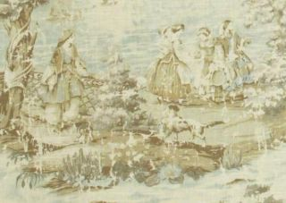 COVINGTON BOSPORUS SHABBY TOILE CREAM FLAX AQUA SPA OLIVE GREEN FABRIC