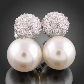 Swarovski Crystal Pearl Ball 18K White Gold GP Pearl Earrings E216