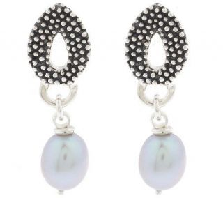 Michael Dawkins Sterling Granulation & Cultured Pearl Earrings