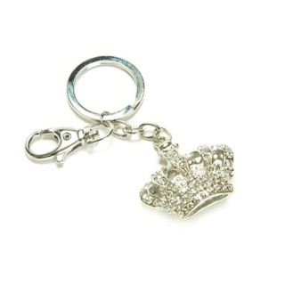 Clear Crystal Gem Crown Keychain Key Ring Clasp Finder