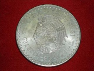 1948 Cuauhtemoc 90% Silver Aztec Ruler Cinco Pesos Mexico city Mint #