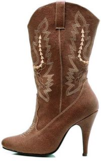 Shoes 4 Spike Heel Brwn Ankle High Cowgirl Boot 418 COWGIRL/BRWN