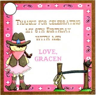 Girls Pink Cowgirl Party Favor Tags Farm Western
