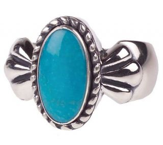 Southwestern Sterling Oval Turquoise Ring —