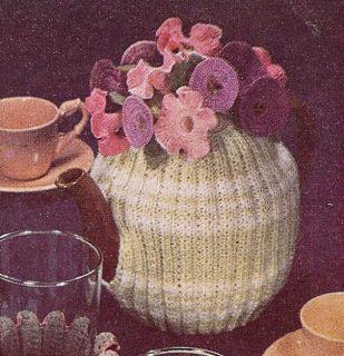 Vintage Knitting Crochet Pattern Flower Tea Cozy Floral