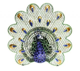 Deco Breeze Hand Sculpted Metal Decorative Peacock Fan   H350833