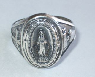 Vintage Creed sterling silver ring 1830 Mary Pray For Us jewelry heart