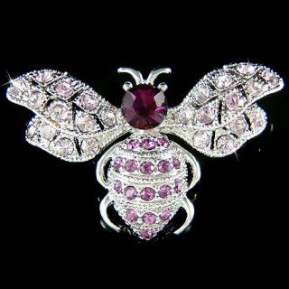 Crystal Bumble Bee Honey Beetle Insect Bug Pin Brooch Xmas