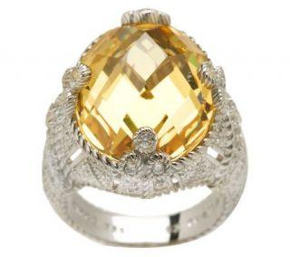 Judith Ripka Sterling 20.0ct Yellow Diamonique Cocktail Ring   J265032