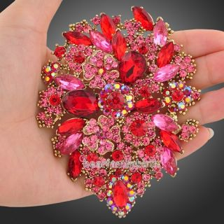 Swarovski crystal red flower huge oval brooch pin pendant jewelry