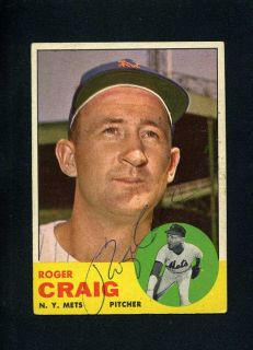 1963 Topps #197 ROGER CRAIG Card SIGNED New York Mets Baseball