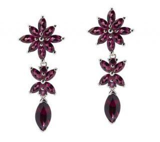 30 ct tw Brazilian Garnet Sterling Floral Dangle Earrings   J265693