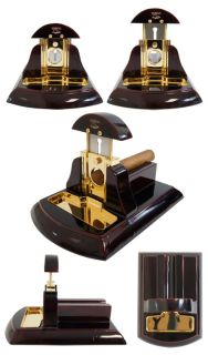 CUBAN CRAFTERS TABLE CIGAR CUTTER   BLACK WOOD AND GOLD TRIM   FULLY