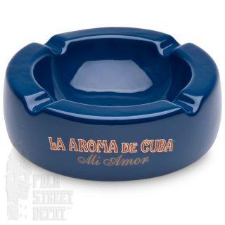 Cigar Ashtray La Aroma de Cuba MI Amor Blue High Gloss Ceramic 4 Rest
