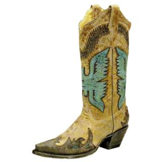 Corral Ladies Antique Saddle Turquoise Eagle Overlay Cowgirl Boots
