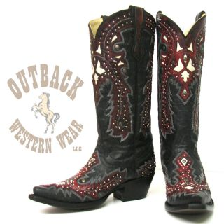 Corral Ladies Black Red Overlay with Studs Boots G1035