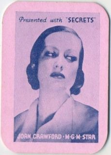 Joan Crawford Vintage 1935 Secrets Mini Playing Card Movie Star