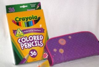 Crayola Colored Pencils 36 Pack and Purple Pencil Pouch