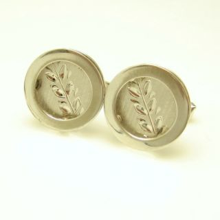 Vintage Sterling Silver Large Cufflinks Cuff Links Mid Century