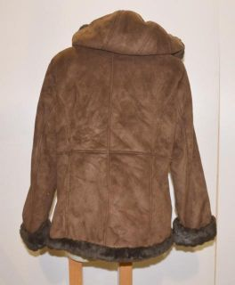 Croft & Barrow Size Large Womens Brown Hooded Microfiber Jacket