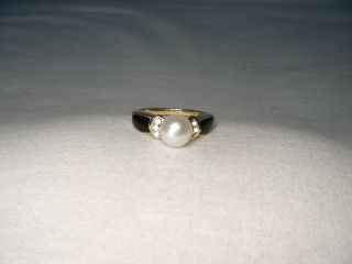 Estate 14k Yellow Gold Cultured Pearl Diamond Onyx Ring