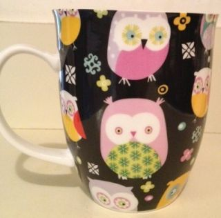 Black Ceramic Colorful Owl Mug Coffee Cup by Creative Tops Ltd