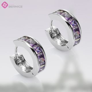 Fashion Lady Jewelry Purple Amethyst White Gold Plated Hoop Round