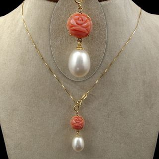 Natural Coral Teardrop FW Pearl Solid 18K Yellow Gold Necklaces