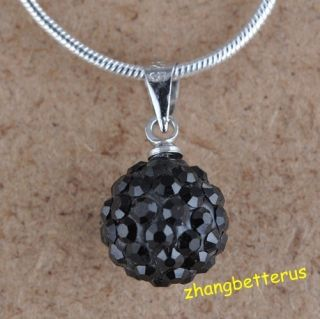 Austrian Black Crystal Pave Disco Ball Beads Necklace Pendants Charms
