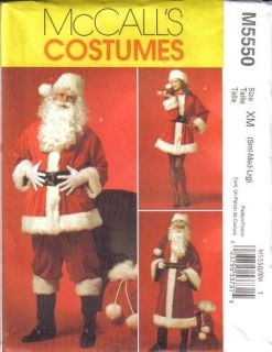 Claus Suit Costume Mr Mrs Christmas McCalls Sewing Pattern 5550
