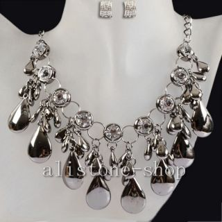 Silvery Water Drop Crystal Pendants Necklace Earring AS3091