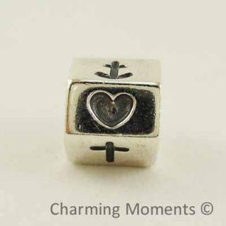 New Authentic Pandora Silver Charm Heart Cross Anchor 790119 Bead