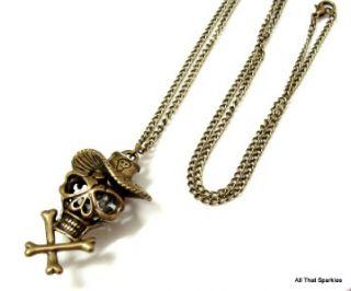 antique bronze skull and crossbones cross bones long pendant necklace