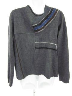 Creola Dark Gray Stripe Floral Knit Cardigan Sweater 46
