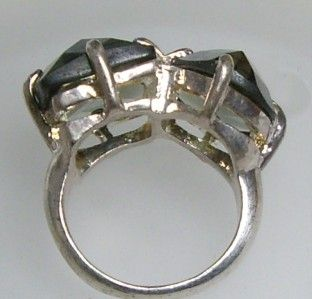 Geometric Shape Checkerboard Cut Smoky Quartz Ring Size 9 1 4