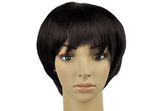 Lady Cosplay Black Party Fancy Dress Short Straight BOB Fake Hair Wig