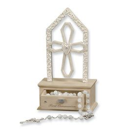 Religious New First Communion Rosary Cross Box Gift
