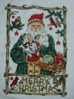 NEW Finished Completed Cross Stitch Santa Gifts Christmas gifts