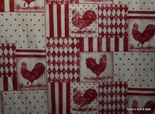 Red Farm Roosters Chicken Cream Kitchen Curtain Valance NEW