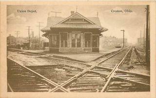 Ohio Oh Creston Union Depot Postcard Railroad Station Train Railway