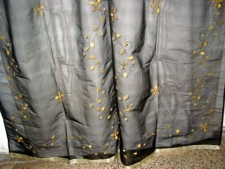 Organza Black with Gold Floral Mirror Embroidered Curtains 92