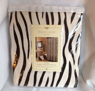 Wellesley Manor Fabric Shower Curtain White Black Zebra Animal Print