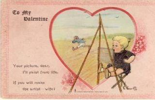 Curtis To My Valentine Vintage Postcard VP 2489