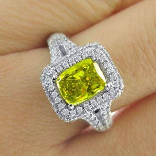 02 Carat Canary Yellow Cushion Cut Diamond Engagement Ring 14k White