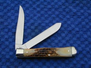Cripple Creek 1 of 200 Burnt Stag 2009 Trapper Knife by GEC USA Case